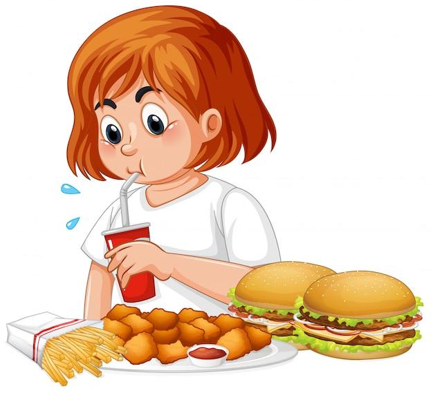 Толстая девочка ест фаст-фуд