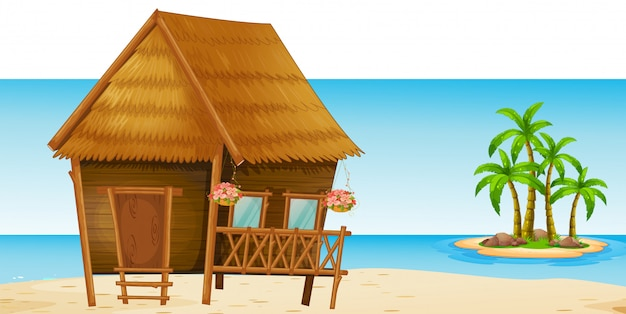 ビーチの木の小屋