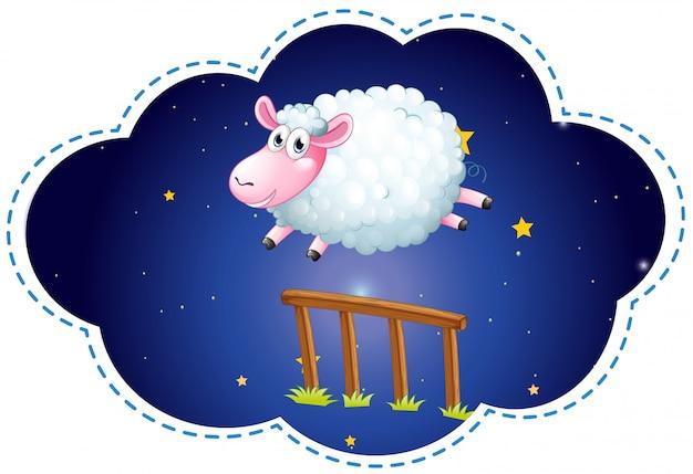 夜間に柵の上を飛ぶ羊