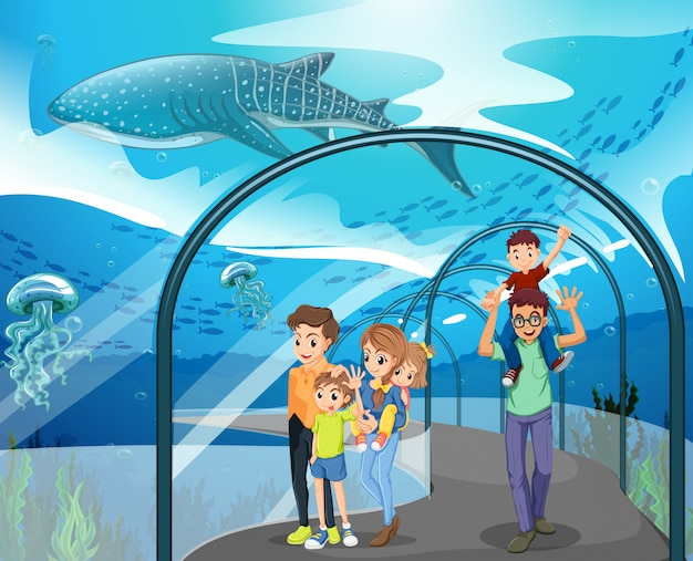 水族館を訪れる多くの家族
