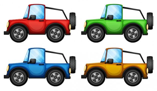 Четыре разноцветных джипни