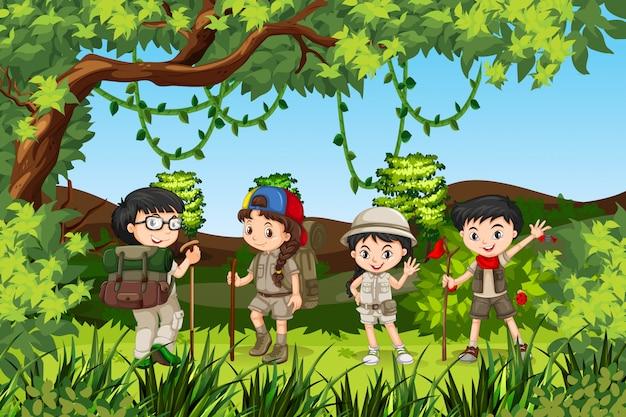 ハイキングキッズのグループ
