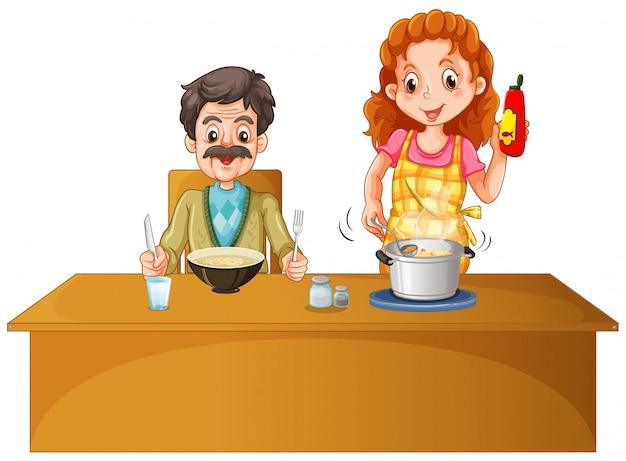 父と母、テーブルの上に食事をして