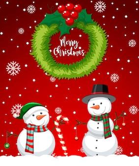 Красная веселая рождественская открытка со снеговиком