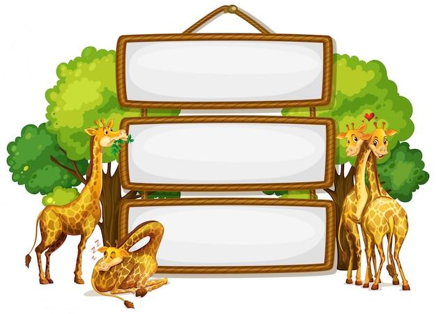 Жираф на пустой деревянной доске