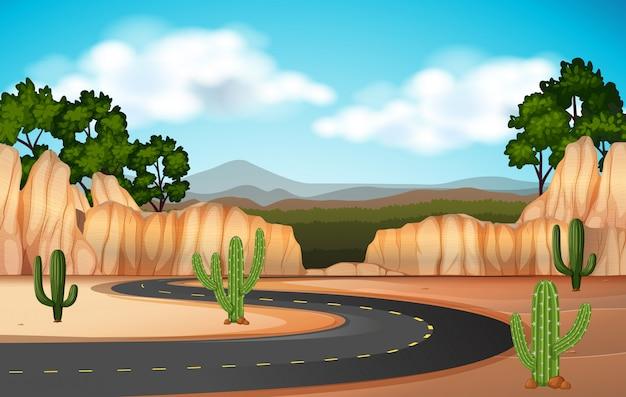 Сцена с дороги через каньон