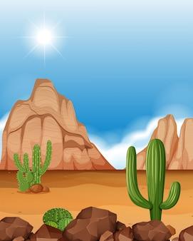 山とサボテンの砂漠のシーン