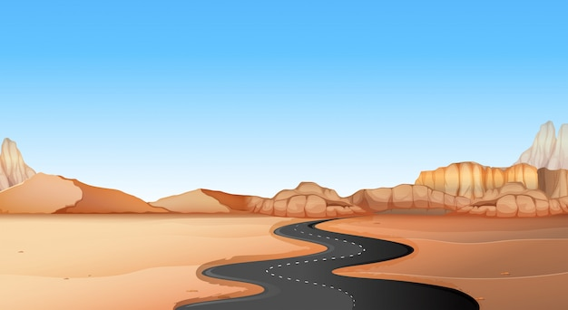 砂漠の土地を通って空の道