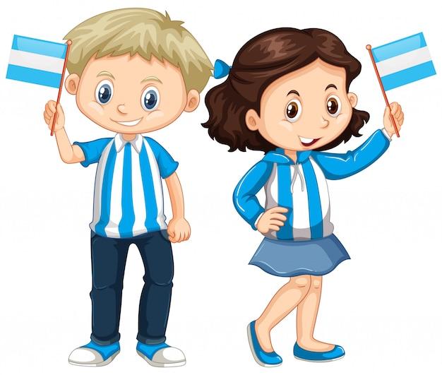 男の子と女の子、アルゼンチンの国旗を保持