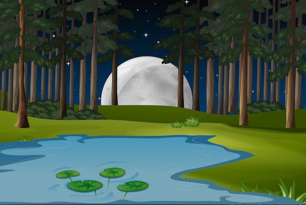 満月と森の池の自然シーン