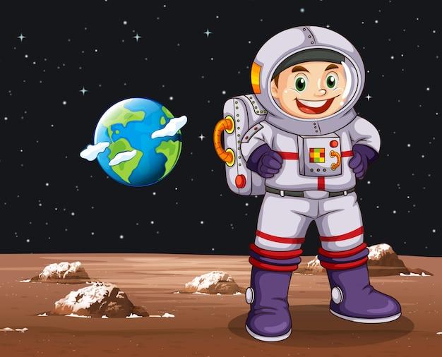 宇宙飛行士が地球上に立っています。