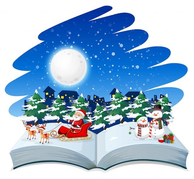 開いた本のクリスマスのテーマ