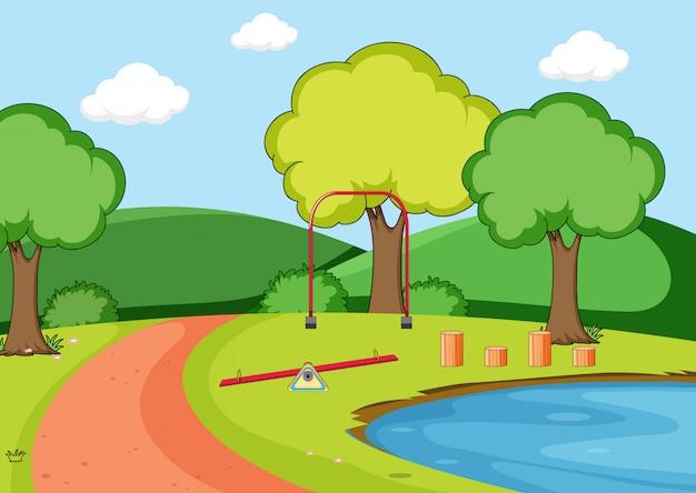 自然遊び場のシーン