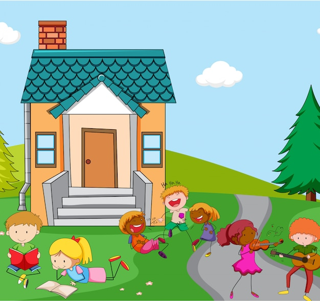 家の前で遊んでいる子供たち