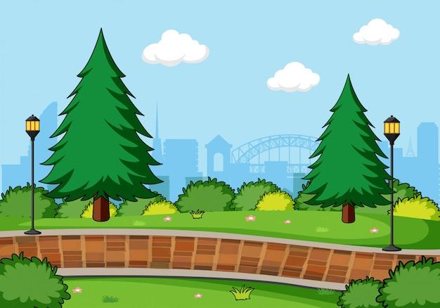 Простой ландшафт парка