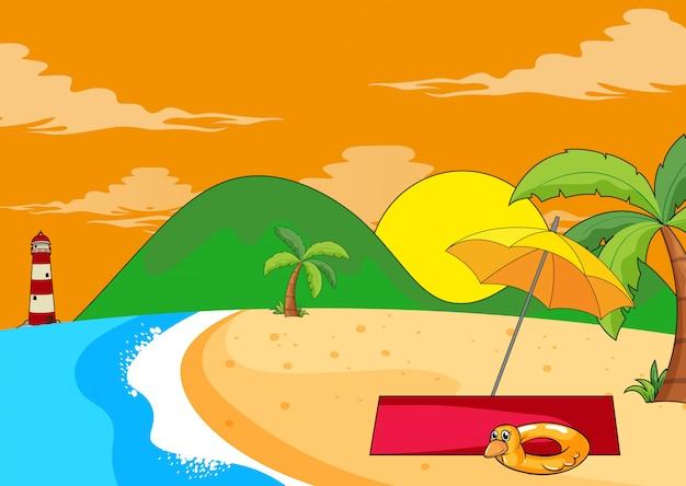 平らな夏のビーチの風景