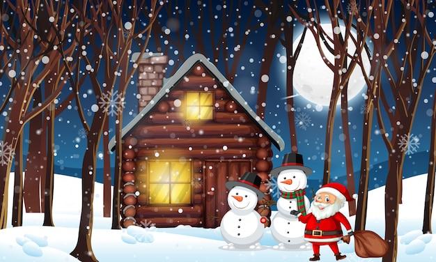 冬の木の小屋