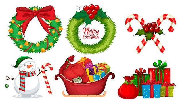 クリスマスの要素のセット