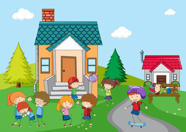 農村の家で遊ぶ子供たち