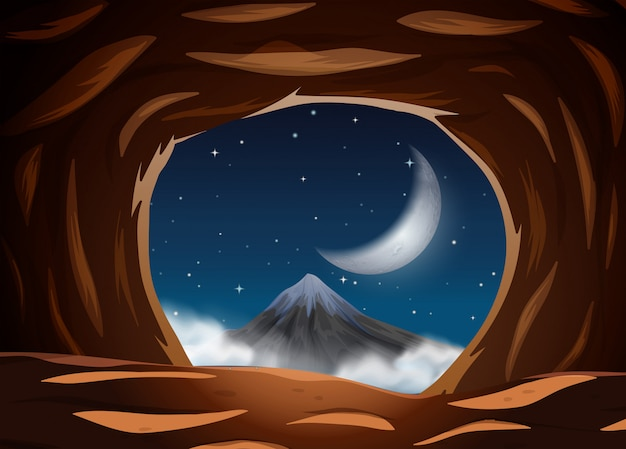 洞窟からの夜景