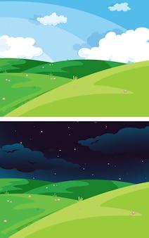 昼と夜の自然シーン