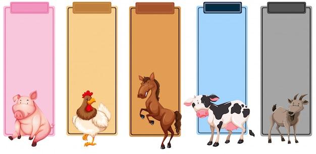 農場の動物の国境のセット