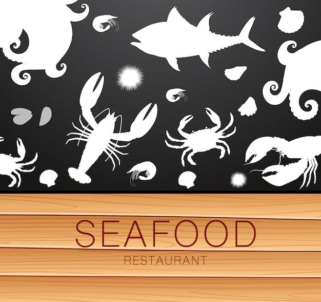 Шаблон силуэт свежих морепродуктов