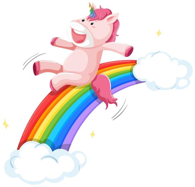 Счастливый единорог на радуге