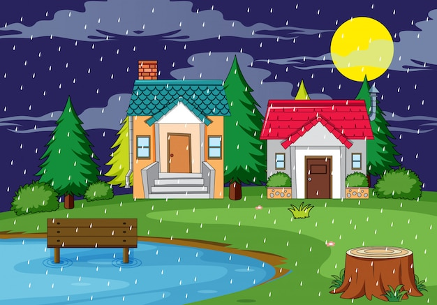 Сельский дом природа сцена