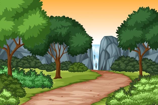 滝自然の風光明媚な背景