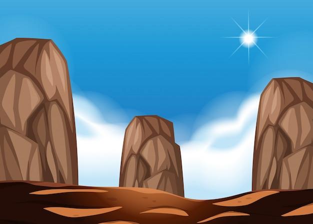 Пустынная сцена с большими валунами
