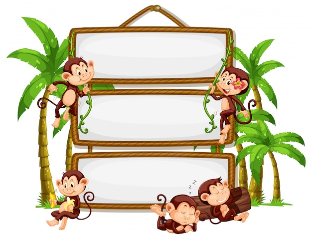 白い背景の上の看板と猿