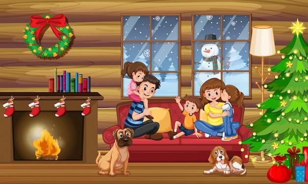 クリスマスの家の中で幸せな家族
