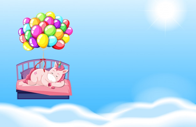 Единорог спит в постели фоне неба
