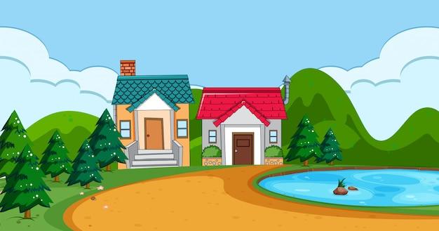 平らな農村住宅の風景