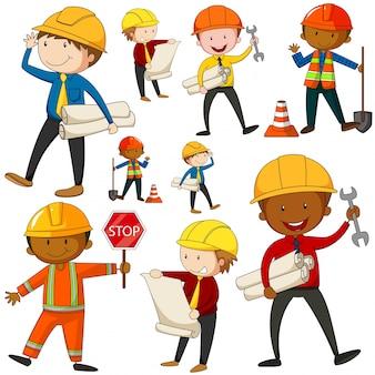 エンジニアと建設労働者のイラストのセット