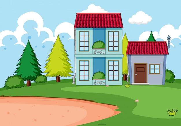 自然の中で家を建てる