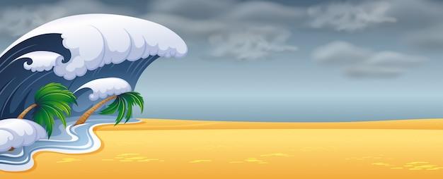 津波がビーチを直撃