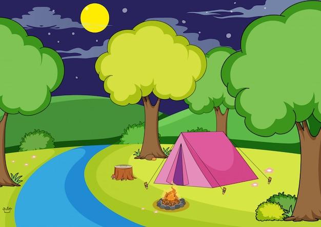 森でのキャンプ