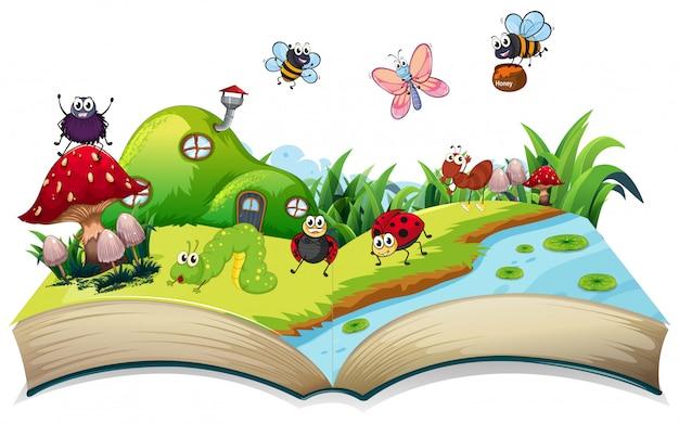 開いた本で幸せな昆虫