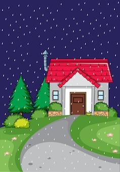 田舎の家は夜です