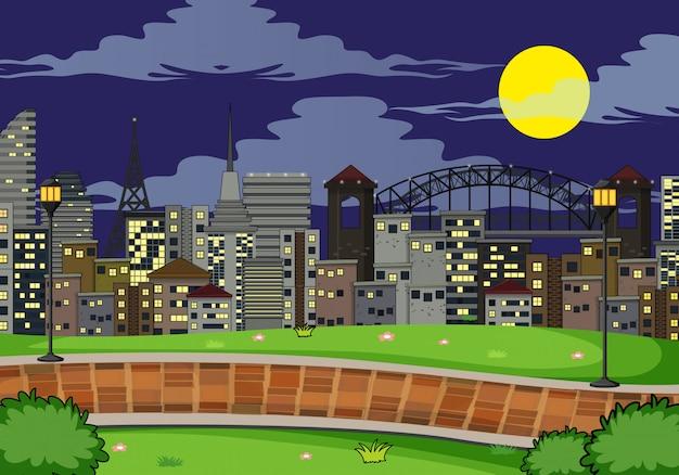 Простая сцена парка ночью