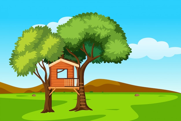 自然風景の中の木の家