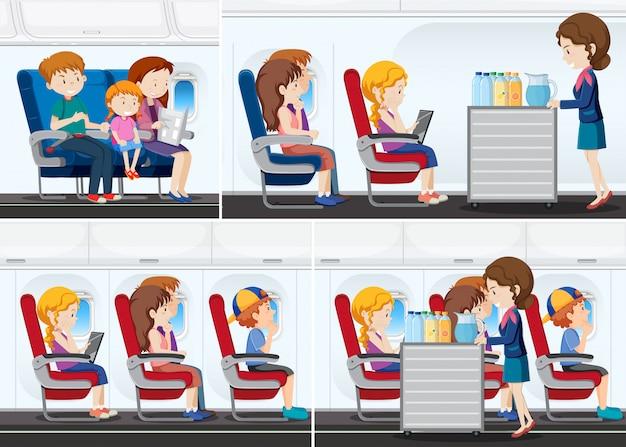飛行機の中で乗客