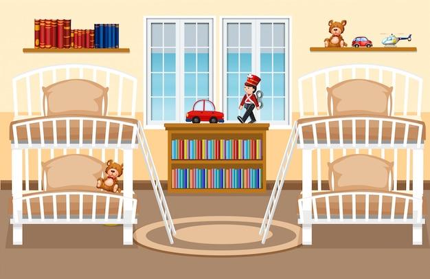寮の寝室の背景