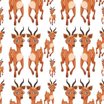 シームレスパターンの鹿