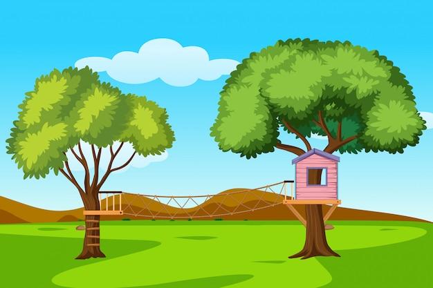 自然風景の中の樹上の家