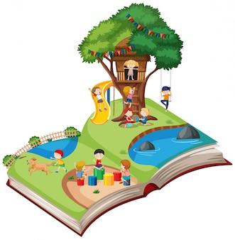 開いた本の遊び場のテーマ