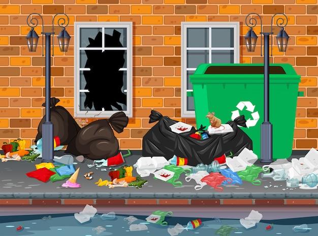 街の背景にゴミ