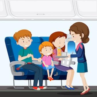 飛行機の中で家族